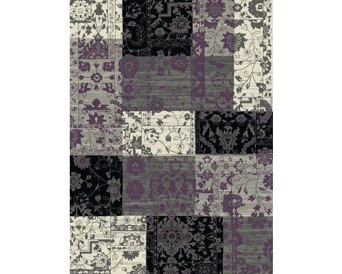 Vloerkleed Patchwork zwart/grijs/lila 160x230 cm kopen bij HORNBACH