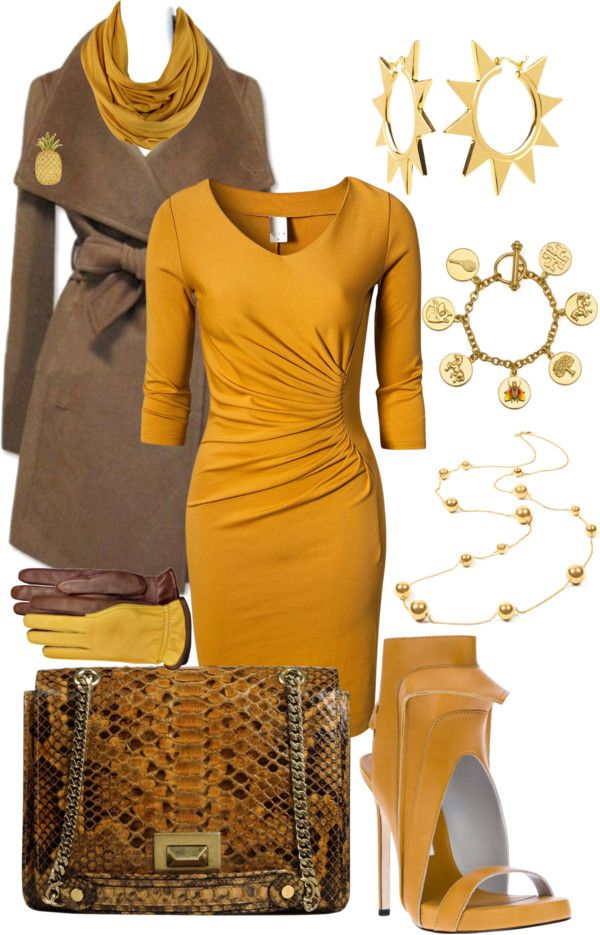 """Mocha And Mustard"" by konata-glamdoll ❤ liked on Polyvore ... don't like the shoes, but otherwise ..."