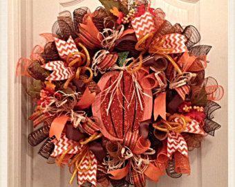 Pumpkin Deco Mesh Wreath by CampbellsCreative110 on Etsy