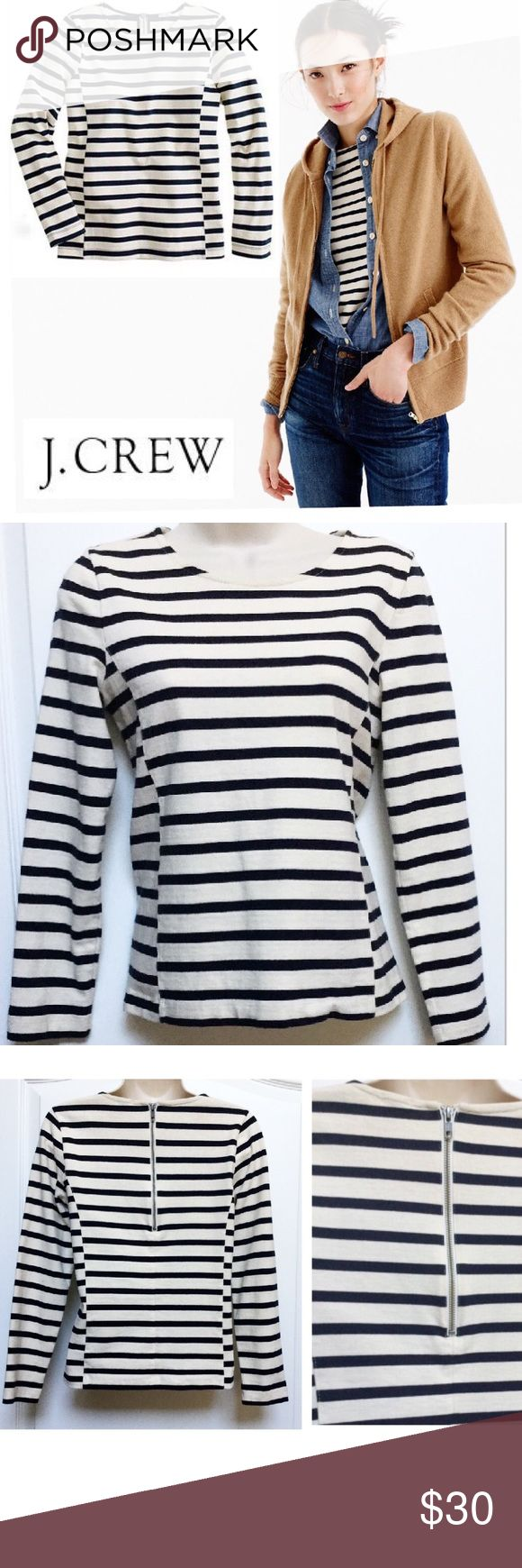 """J. Crew Structured Back Zip Top ✨FINAL J. Crew Stripe (Nautical) Navy/White Long Sleeve Top New Take on a forever classic  Feminine fit & artfully placed structured side panel seams Bracelet Sleeves & flirty exposed back zip  100% Cotton -Structured for a clean-lined silhouette Sz: XS Measures: (flat w/o stretch) 17.5"""" chest- 22"""" Length -22"""" sleeves LIKE NEW!   FINAL= Price at LOWEST LOWBALL OFFERS= Ignored Thanks & Happy Poshing! J. Crew Tops"""