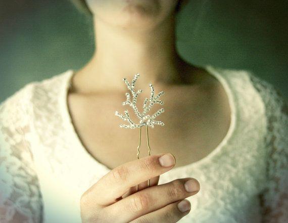 Silver Winter Wedding Hair Vine Pins. Ice by ElevenSkiesStudio