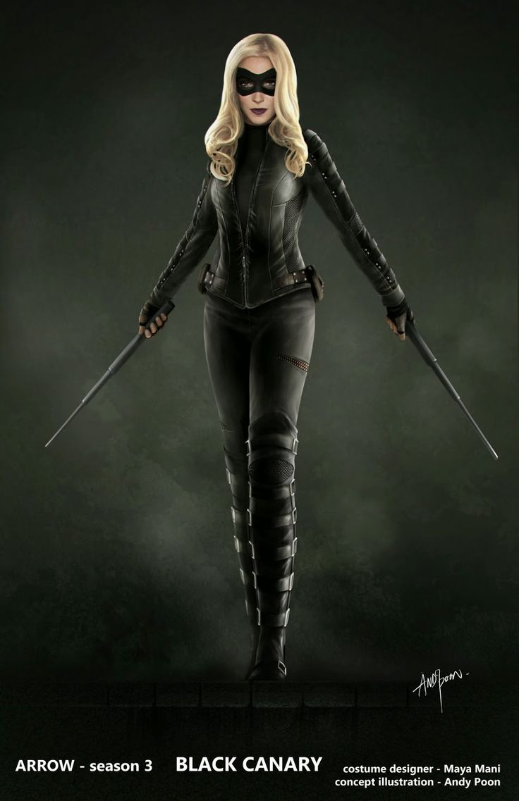 "Concept art for Black Canary in season 3 outfit from ""Arrow"" (2014) by Andy Poon."