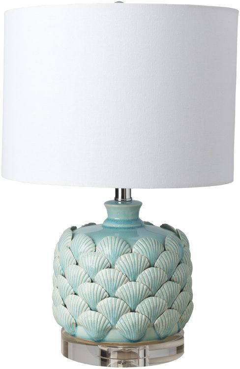 One of our favorite finds for this season, we love this new smaller version of our new Layered Aqua Scallop Shell Lamps