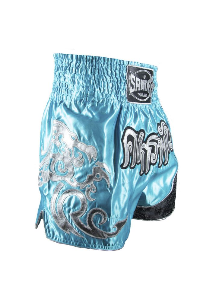 Sandee Unbreakable Thai Shorts - Blue Silver & Navy - All Ages