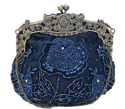 Винтажный стиль темно-синий атлас цветочный вручную бисером вечерняя сумка сумочка Кошелек