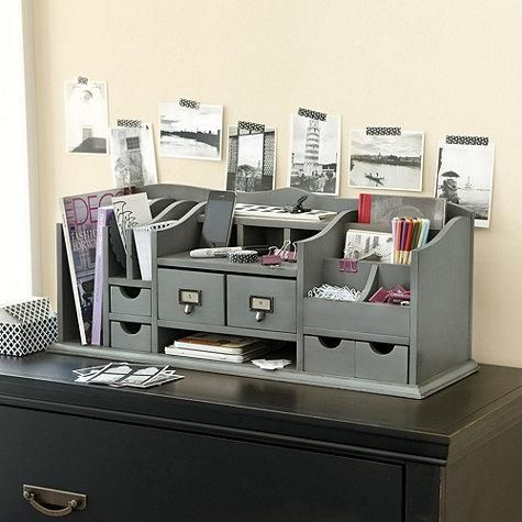 Gray Desk Organizer Home Office