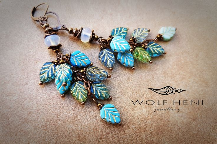 Handmade earring - Opalite stones with Czech leaves beads. Real autumn feeling and romantic forms in this earring by WOLF HENI jewellery