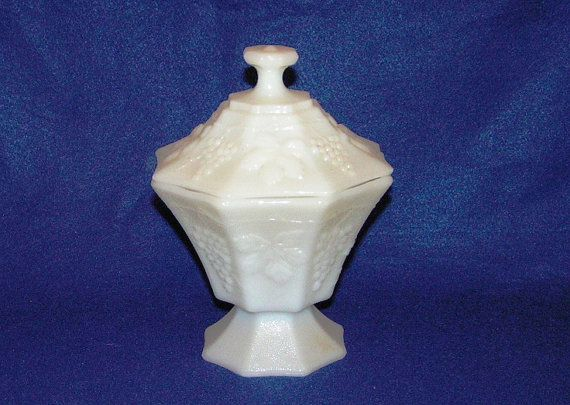 Milk Glass Circa 1950s Candy Dish with Lid by peachiepockets