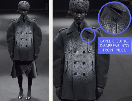 Spotlight Details at Anrealage   The Cutting Class. Anrealage, AW15, Image 2. Lapel is cut to disappear into front piece.