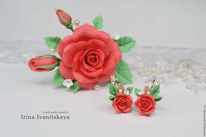 """Комплекты украшений ручной работы.  Комплект """"Коралловые розы"""". Handmade.  шпильки с цветами"""