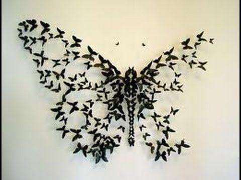Como hacer mariposas de papel para decorar una pared. Decorar una pared con mariposas de papel. MAS AQUI : http://www.rinconutil.com/mariposas-de-papel-para-...