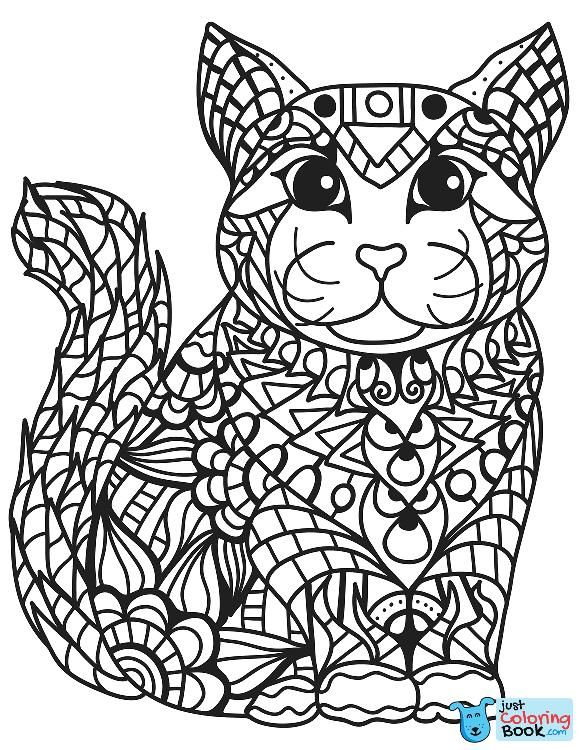 Zentangle Cat Coloring Page Free Printable Coloring Pages Throughout Guilty Cat Colori Cat Coloring Page Free Printable Coloring Free Printable Coloring Pages