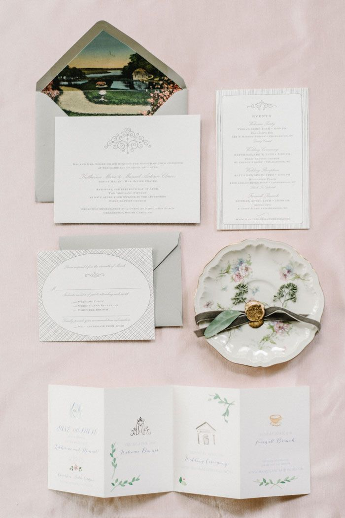 navy blue and kelly green wedding invitations%0A Charleston wedding invitation suite