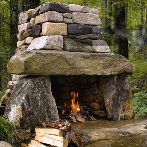 Rustic Outdoor Fireplace. I so want to build this. We have rocks everywhere!