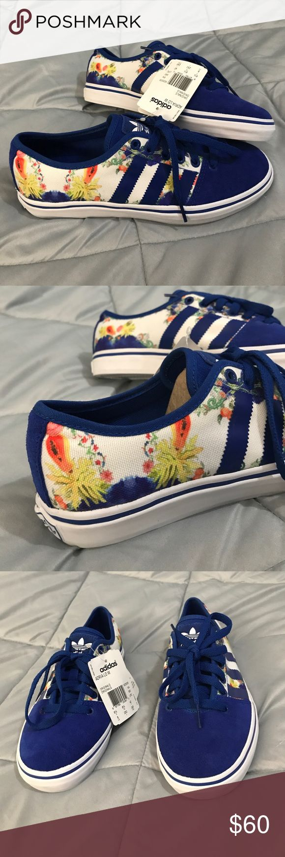 💙Adidas Adria Low Shoes💙 Size 8, new with tags, never worn. Blue, floral print, & white in color. Very good lookin shoes!! 💙 adidas Shoes
