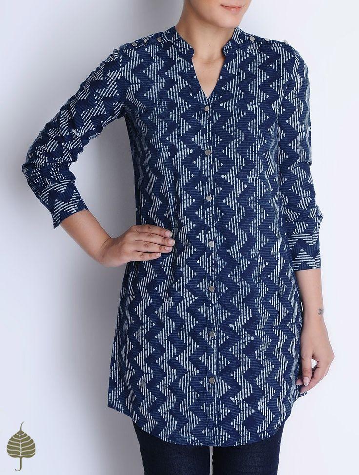 Buy Indigo Ivory Natural Bagru Printed Cotton Tunic by Jaypore Apparel Tunics & Kurtas Online at Jaypore.com