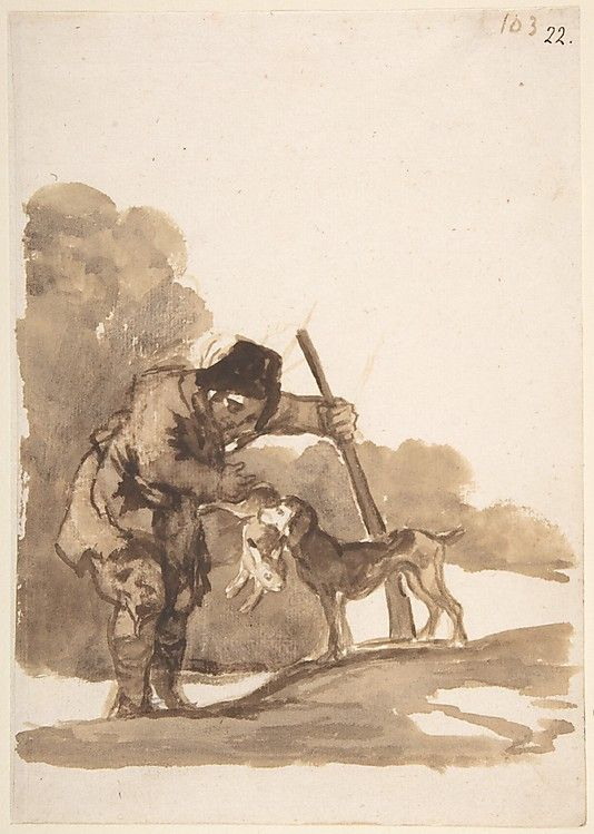 Goya (Francisco de Goya y Lucientes) (Spanish, 1746–1828). Rabbit Hunter with a Retriever, from Images of Spain Album (F), 103, 1812–20. The Metropolitan Museum of Art, New York. Harris Brisbane Dick Fund, 1935 (35.103.22) #dogs