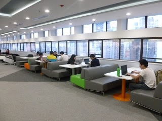 booths in 'cafe-like' area?  Exploring Learning Spaces and Libraries in Asia: Hong Kong University Library - Learning Commons