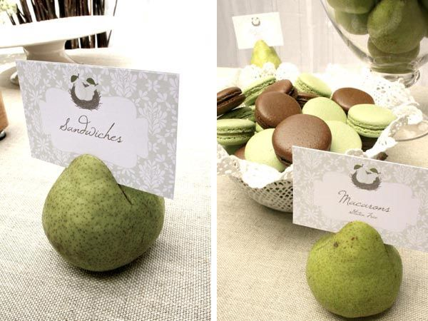 Perfect Pair. A twins Shower: USing pears as food labels holder