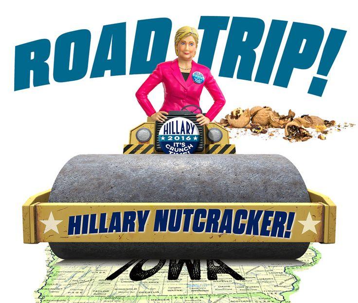 Hillary Nutcracker hits the campaign trail in an already rather flat Iowa. #politics #Clinton #funny #2016