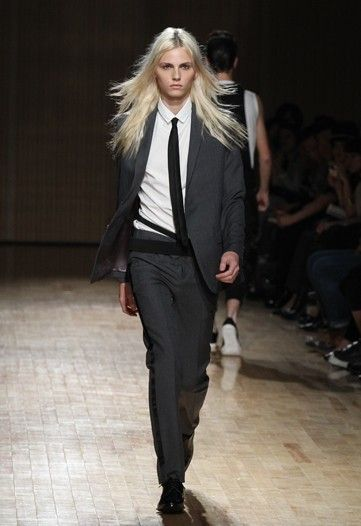 Love the suit and love the model: Andrej Pejic. Androgyny is definitely in.