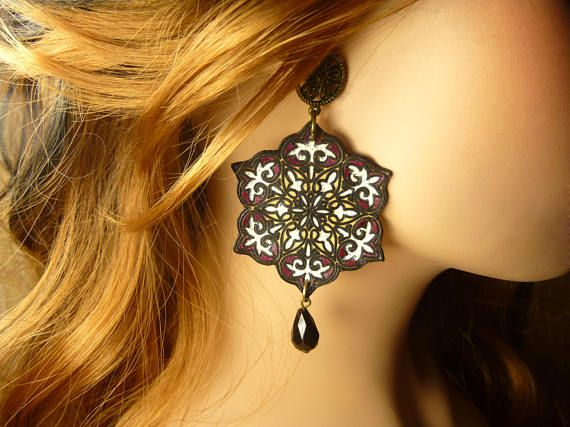 Earring colorful earrings colorful large discs earrings