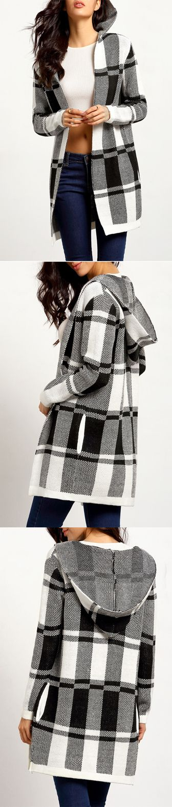 Downplay your winter streetstyle in a casual way with this black hooded plaid cardigan. Crafted in a straight cut bodice, long sleeves, and a hoodie.