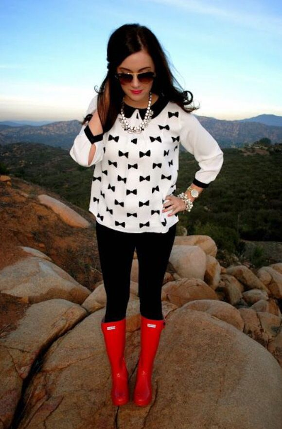 Chic white shirt with red boots #fashion #spring