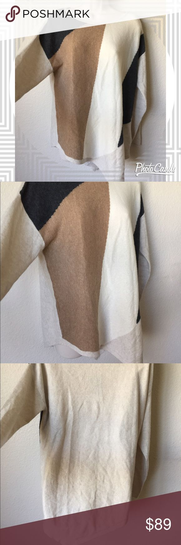 Charter Club 100% cashmere sweater--NWT! Gorgeous 100% cashmere sweater by Charter Club Luxury! Cream colored with grey and tan design and asymmetrical hem... brand new with tags! Size medium Charter Club Sweaters Crew & Scoop Necks