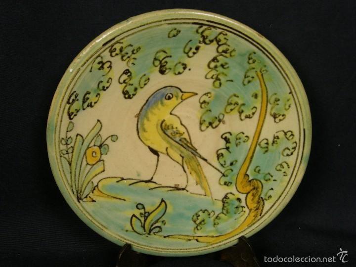 plato ave ceramica puente arzobispo A.C.R. 1ª mitad s XX diam 18,5cms