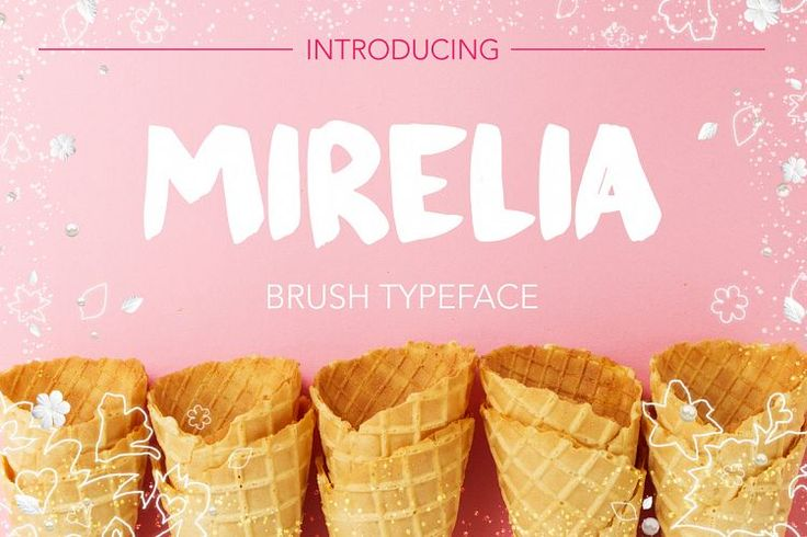 Font for your creative projects! ?This script is perfect for cards, prints, logos, invitations, arrange illustration and decoration. It has upper and lower case letters, numbers, special characters, accents.Mirelia font - brush typeface example image
