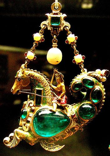 Gold enamelled gem-set pendant / Hippocamp carring a woman, possibly a native American, Spanish late 16th c
