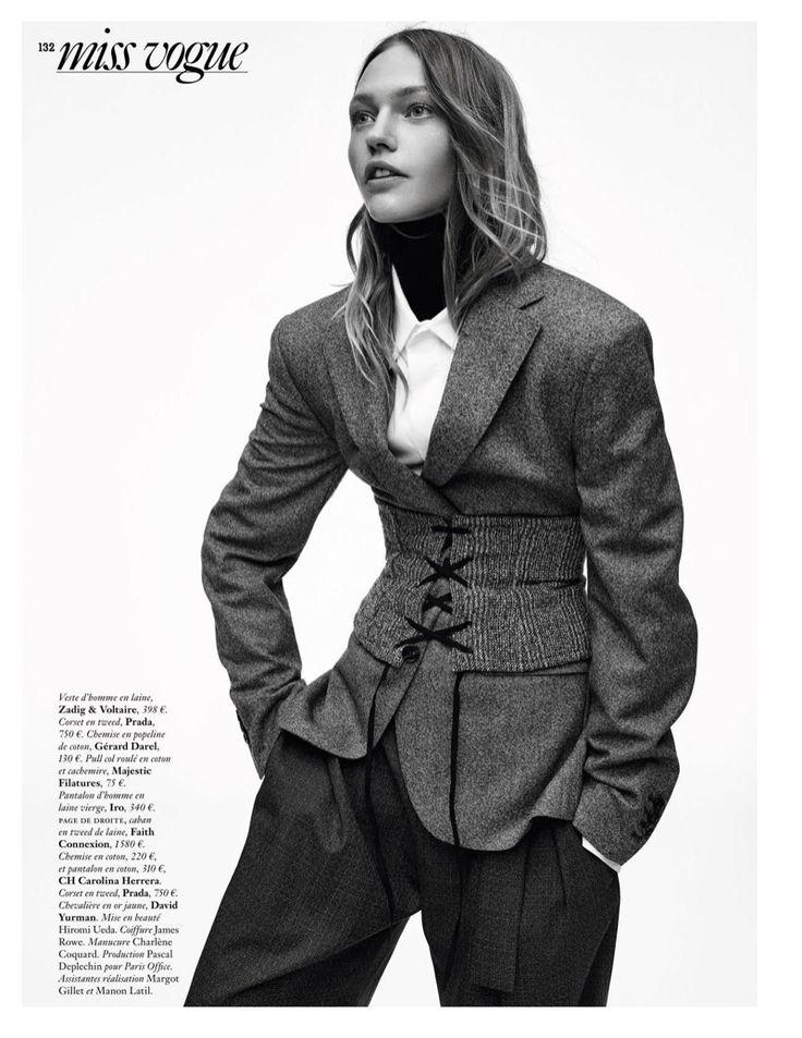 Sasha Pivovarova poses in Zadig & Voltair jacket, Prada corset and IRO pants for Vogue Magazine Paris November 2016 issue