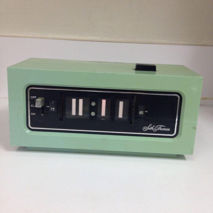 Vintage RARE Seth Thomas Aqua Green Blue Flip Alarm Clock MCM by thetrendykitchen on Etsy