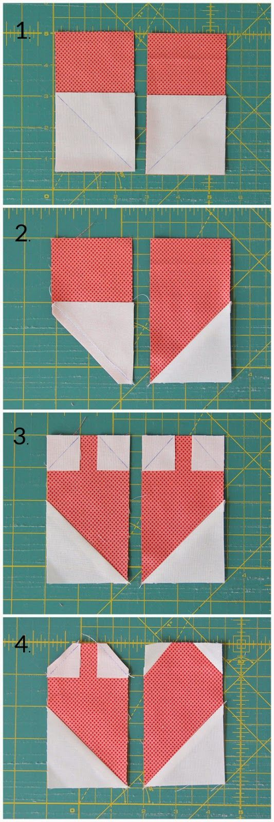 "Cluck Cluck Sew: Simple Heart Quilt + Tutorial   For the quilt you'll need:      20 print squares at least 5"", or 2 1/2"" x 9"" print strips     1 1/2 yards background fabric     3/8 yard binding fabric     1 1/2 yards backing fabric - Cut each print square into: 2 strips 2 1/2"" x 4 1/2"""