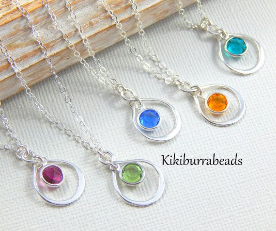 Birthstone Infinity Necklace Personalized by #Kikiburrabeads on #etsy#birthstonenecklace#sterlingsilver#friendshipnecklace www.kikiburrabeads.etsy.com @kikiburrabeads