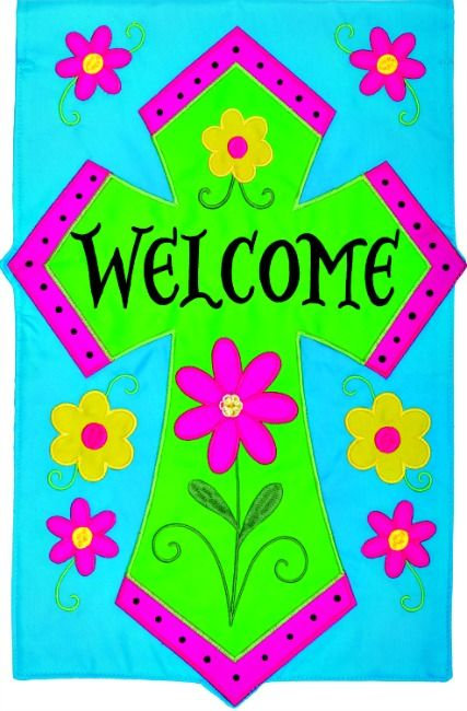 Welcome Cross Applique Double Sided Mini Garden Flag By Custom Decor, Inc.