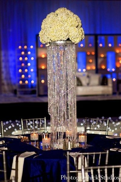 Blue, white and bling! This crystal covered Indian winter wedding reception space is stunning.