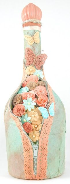 Whimsytouches: Coral Flower Zipper Altered Bottle