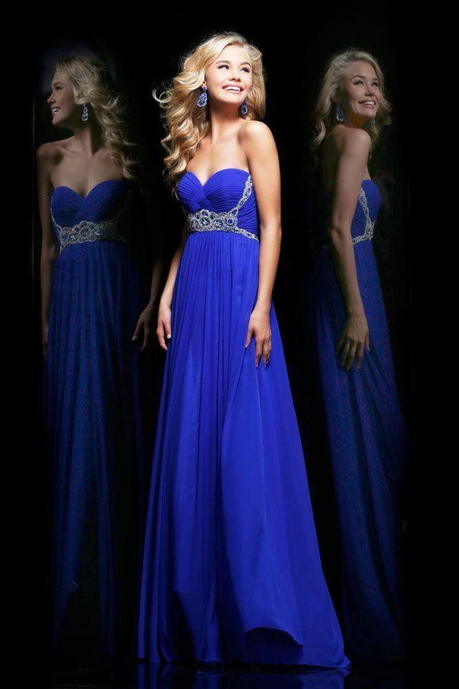 A-line blue prom dress for petite girls