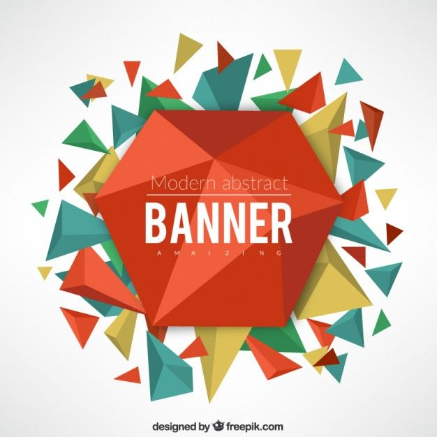 Abstract geometrical banner with triangles Free Vector