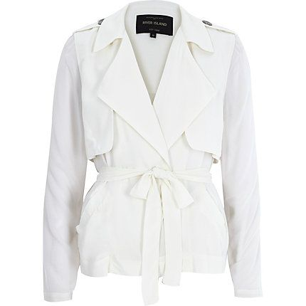 Cream sheer sleeve cropped trench coat £55.00. So nice I had to show it in blk & wht! loving this so much right now