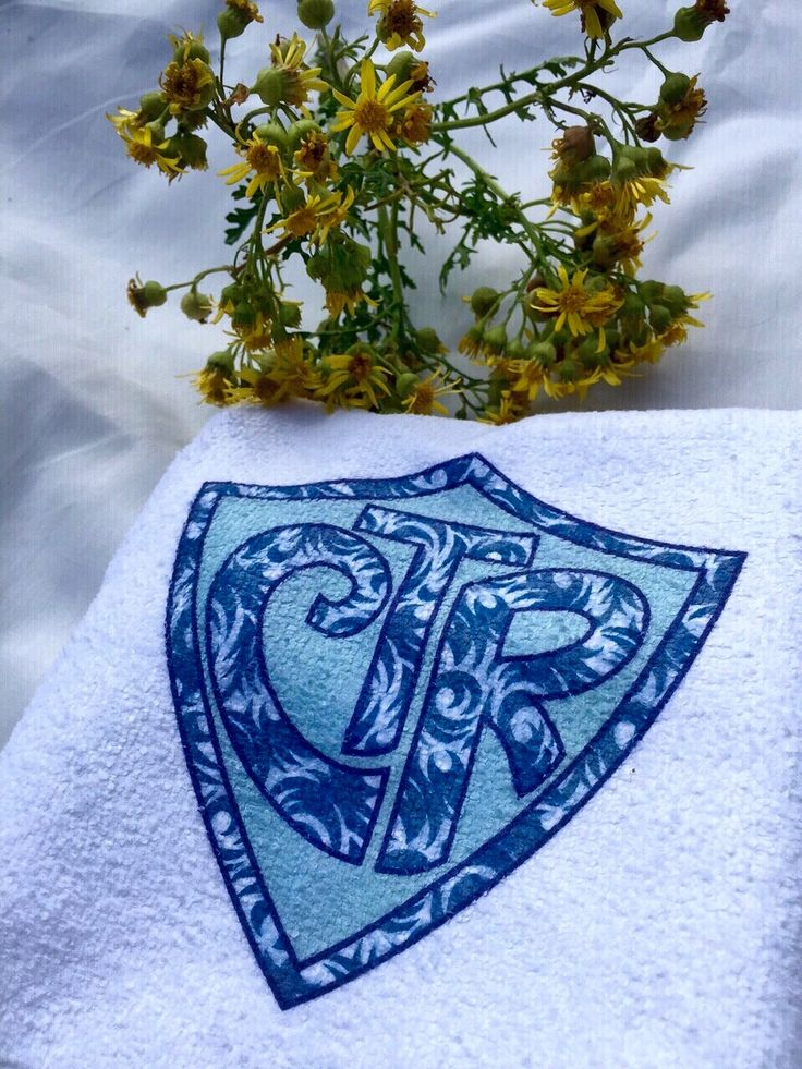 """A Hand Towel that has been personalised with CTR (Choose The Right) Blue Hawaiian style design. Super for a baptism present or a lovely little reminder to always """"Choose The Right""""."""