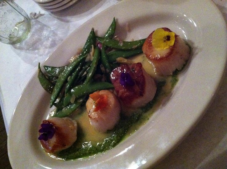 Scallops with pesto & snap peas almandine were the special the night we dined at Barn Brasserie, which opened in the former White River Landing location on Charles Street in downtown Muncie, summer 2013.