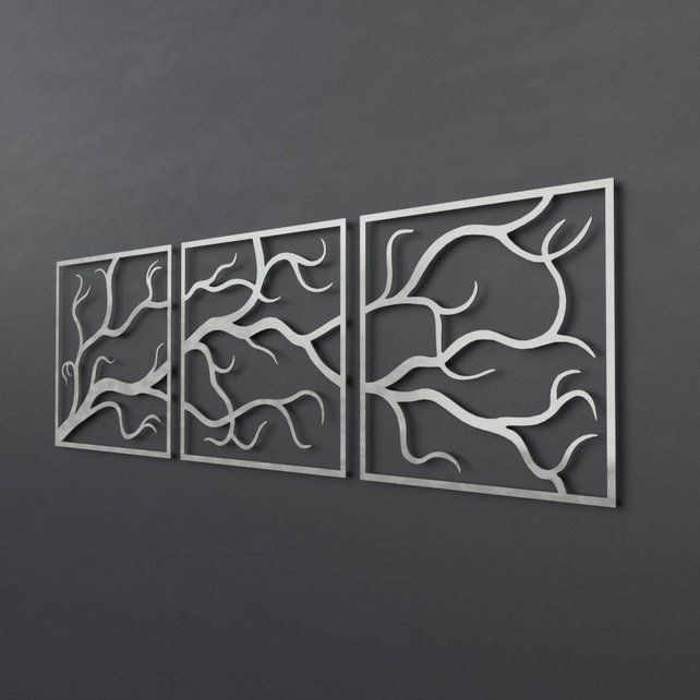 Tree Branches Outdoor Metal Wall Art 3 Piece Multi Panel Wall Art