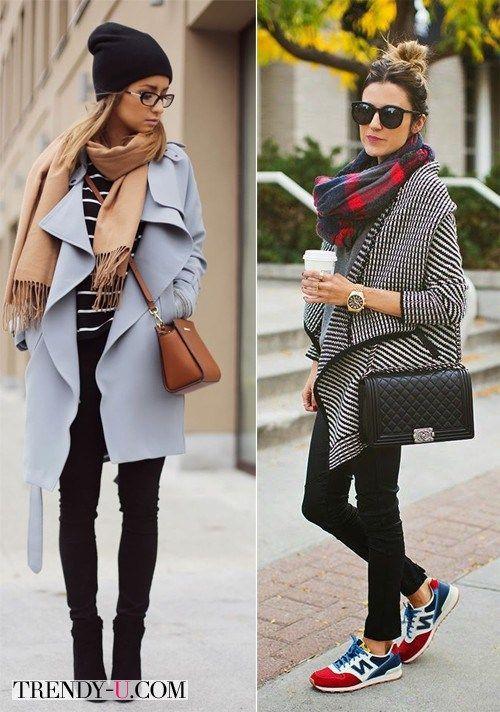 серое пальто + шапка beanie+ руда сумочка+ білі снікерси найк