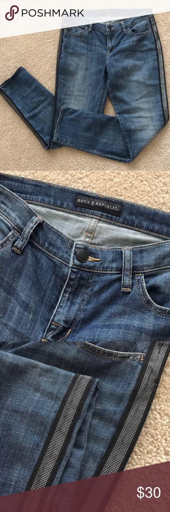NWOT- Rock & Republic Jeans Women's Size 12 Never worn! Size 12 Rock & Republic Jeans with an awesome metallic tuxedo strip detail!  Smoke & pet free Rock & Republic Jeans Skinny