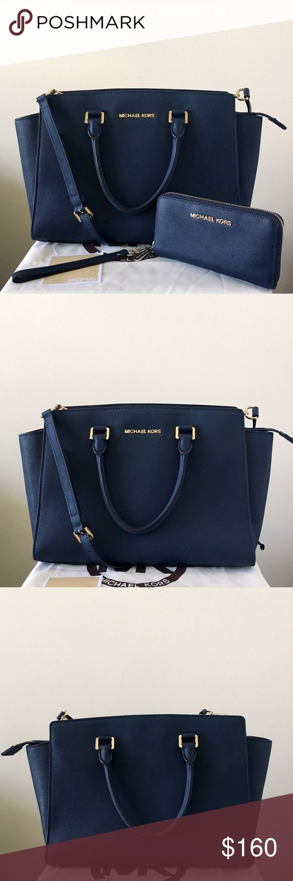 Michael Kors Large Selma With Matching Wristlet Navy (dark) blue with gold hardware. Lightly used. Authentic.  The Selma satchel/ Crossbody shows very minor wear on the hardware, otherwise in really good shape.  Wallet/ Wristlet shows wear on the zipper area, the gold paint faded, please see pictures for detail. Other than that in good condition.  Measurement: 14*9*4.5 inch Both come with a dust bag.😊 Michael Kors Bags Satchels