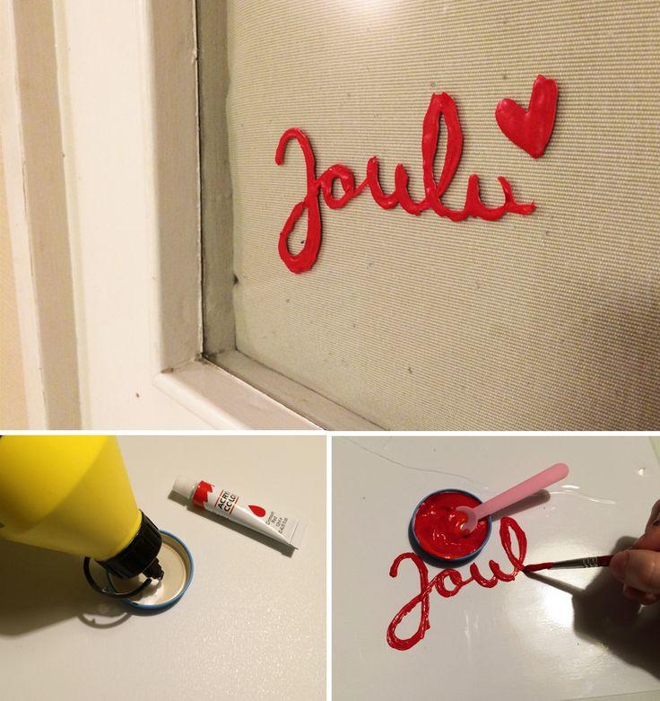 ikkunateksti   liima   akryylimaali   lasten   lapset   askartelu   joulu   käsityöt   kädentaidot   hyvää joulua   idea   koti   DIY ideas   kids   children   crafts   christmas   home   glue   paint   Pikku Kakkonen