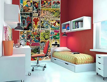 Would be soo cute for a game room.  Comic Book Wallpaper Mural from Not On The High Street